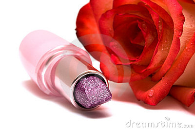 Lipstick with rose