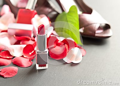 Lipstick with Scattered Rose Petals