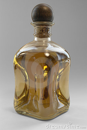 Liqueur bottle with wooden closure