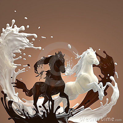 Liquid creamy and hot chocolate horses