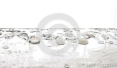 Liquid gems transparent white water drops