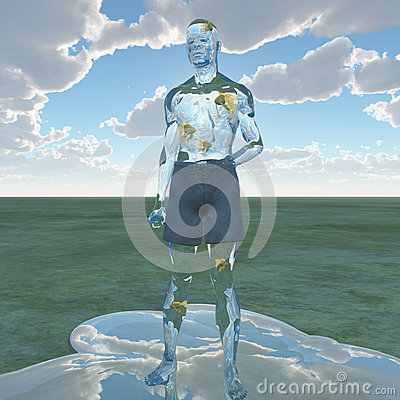 Liquid man with goldfish