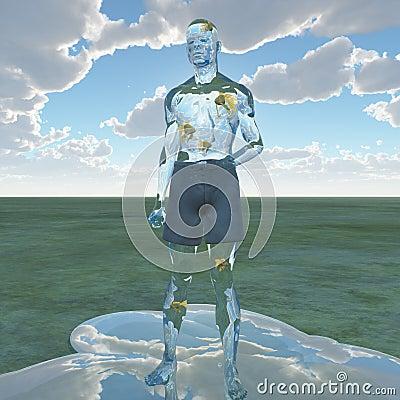 Liquid man with goldfish