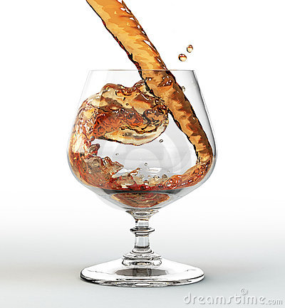 Liquid pouring into a glass