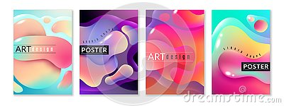 Liquid shape poster. Abstract fluid free shapes color flux minimal paint spots dynamic forms graphic modern background Vector Illustration