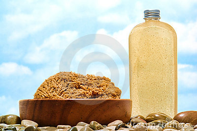 Liquid Soap Bottle and Natural Bath Sponge