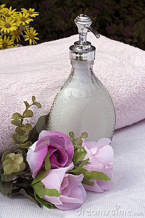 Liquid soap and flowers