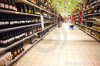 Liquor department  in hypermarket Editorial Image