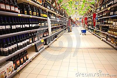 Liquor department  in hypermarket Editorial Image