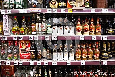 Liquor shelf in store Editorial Photo