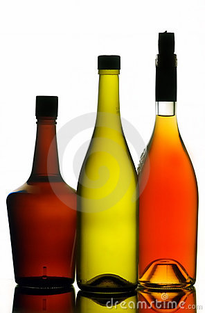 Liquor and wine bottles