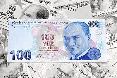 Liras turcas como o fundo