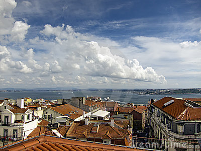 Lisbon city and river tagus view