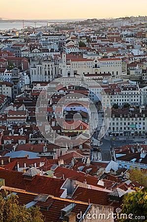Lisbon city sunset