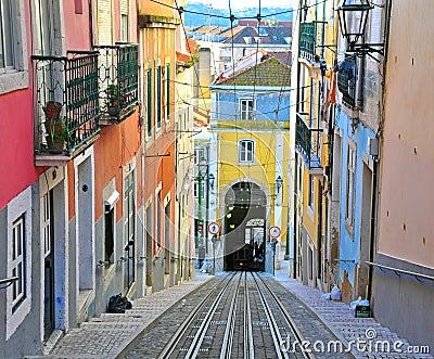 Lisbon funicular Bica Editorial Stock Image