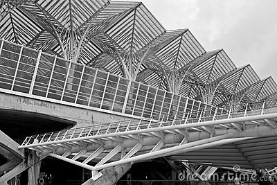 Lisbon - Gare do Oriente exterior detail - B&W Editorial Photography