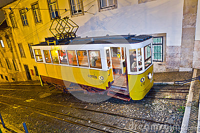 Lisbon at night, famous tram, historic streetcar Editorial Image