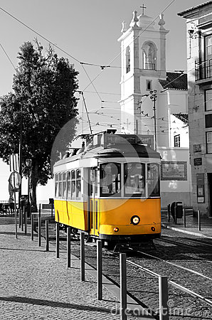 Free Lisbon Old Yellow Tram Over Black And White Background Royalty Free Stock Image - 34822716