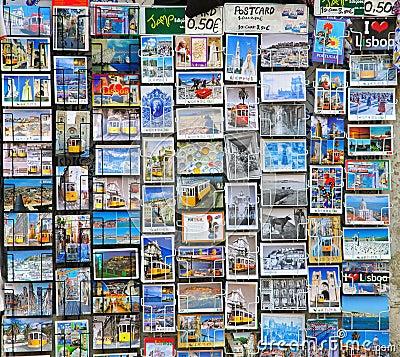 Lisbon postcards Editorial Image