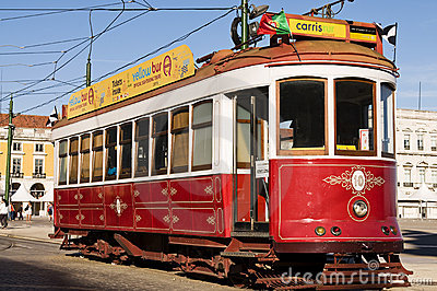 Lisbon red tram Editorial Stock Photo