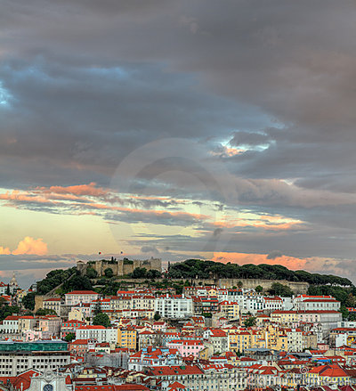 Lisbon at sunset with copyspace, Portugal