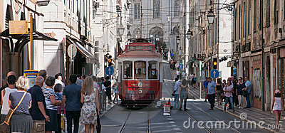 Lisbon tram Editorial Stock Image