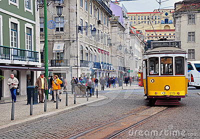 Lisbon tram. Rossio square Editorial Photography