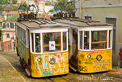 Lisbon Trams Editorial Photo