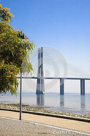 Lisbon waterfront view of the Vasco da Gama bridge