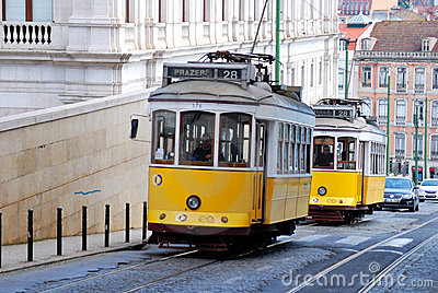 Lisbon Yellow Tram (Portugal landmark) Editorial Image