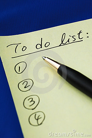 "List out the ""To Do List"""