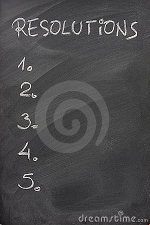 List of resolutions on a blackboard