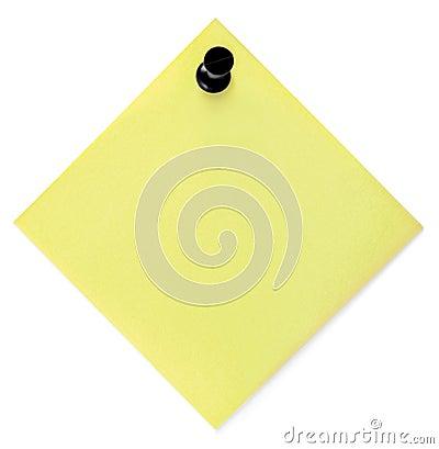 Lista de lío amarilla en blanco con el pasador