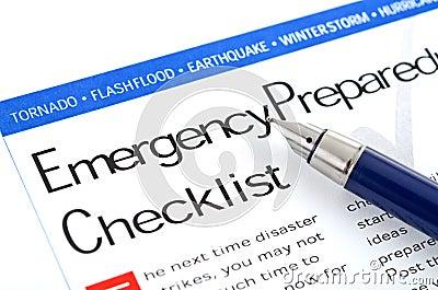 Lista de verificação da prontidão da emergência