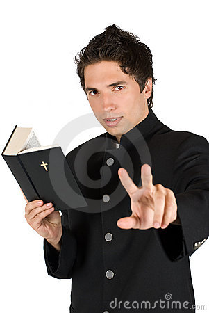Free Listen Me!Priest With Holy Bible Royalty Free Stock Images - 9266769