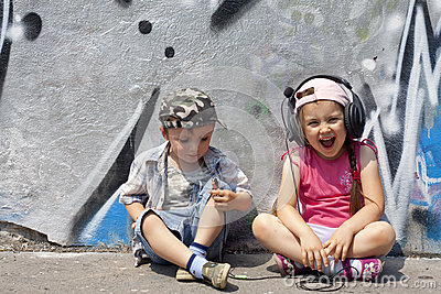Listen to music abstract with kids