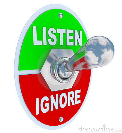 Free Listen Vs. Ignore - Toggle Switch Stock Images - 17330684