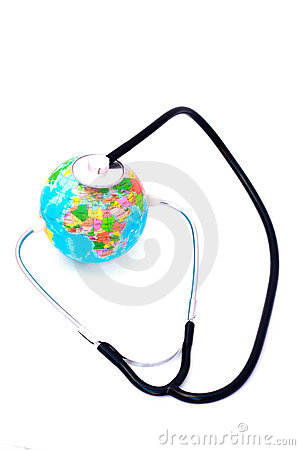 Listening earth with stethoscope isolated