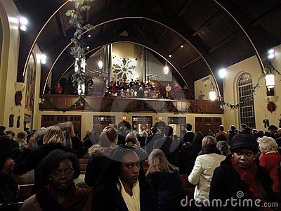 Listening to Alleluia-Christmas Eve Mass Editorial Stock Photo