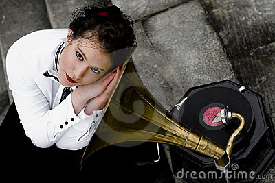 Listening to gramophone
