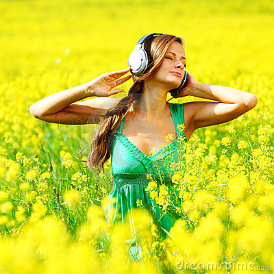 Listening to music in flowers