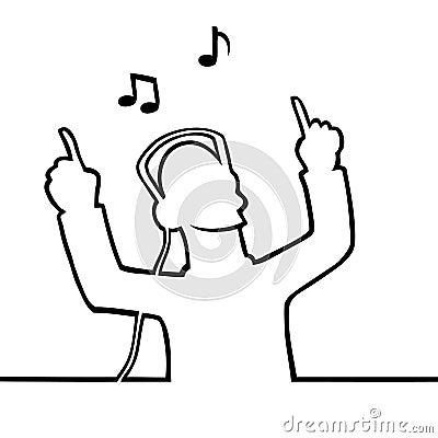 Listening to music through headphones