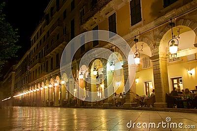 Liston street at night on Corfu island
