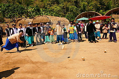 Lisu hill tribe playing top Editorial Image