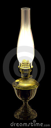 Lit Antique Kerosene Lamp