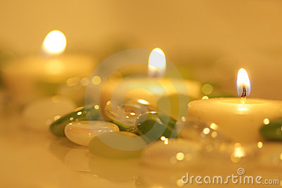 Lit Candles & Glass Beads Royalty Free Stock Photo - Image: 6828565