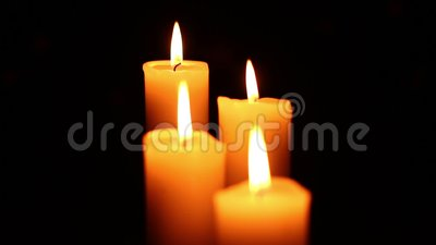 Quietly Lit Two Candles Stock Footage - Video: 85721524