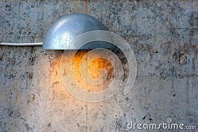 Lit concrete wall