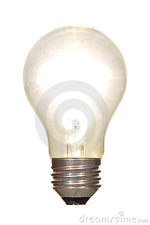 Lit Electric Light Bulb Glowing Bright Isolated
