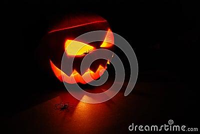 Lit Jack O Lantern pumpkin